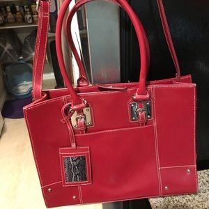 Wilsons Leather Red Tote Body Laptop Bag